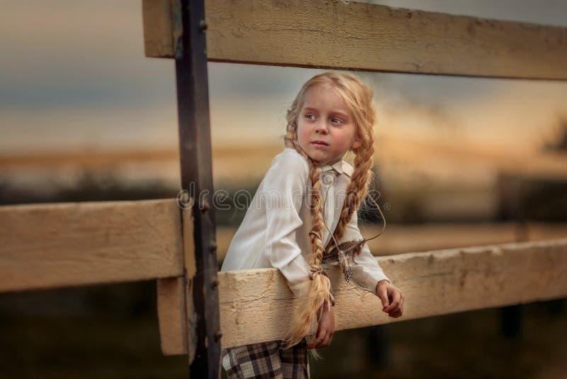 夏日休闲发型的长发小女孩 库存图片
