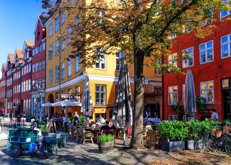 夏日在GrÃ¥brødretorv,哥本哈根,丹麦- 2016年8月 库存照片