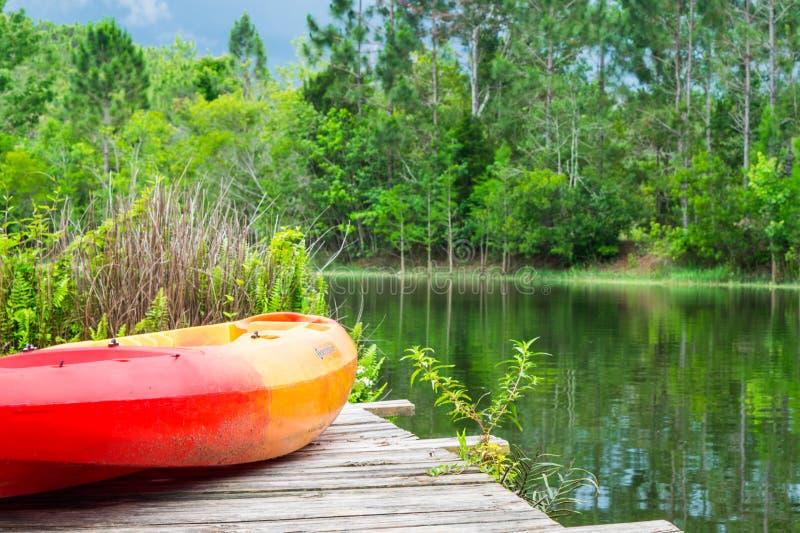 夏日-划皮船在有湖和树的码头 免版税库存照片