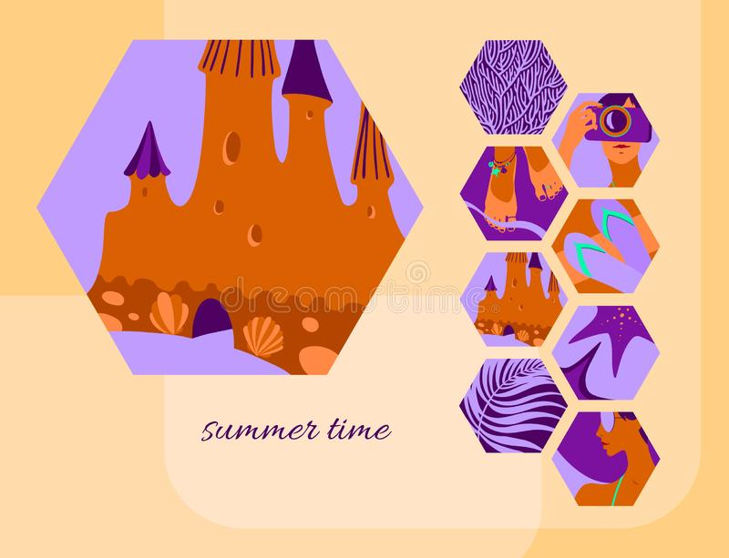 夏时与沙子城堡的卡片模板 六角形热带海滩假日元素装饰的传染媒介现代背景 皇族释放例证