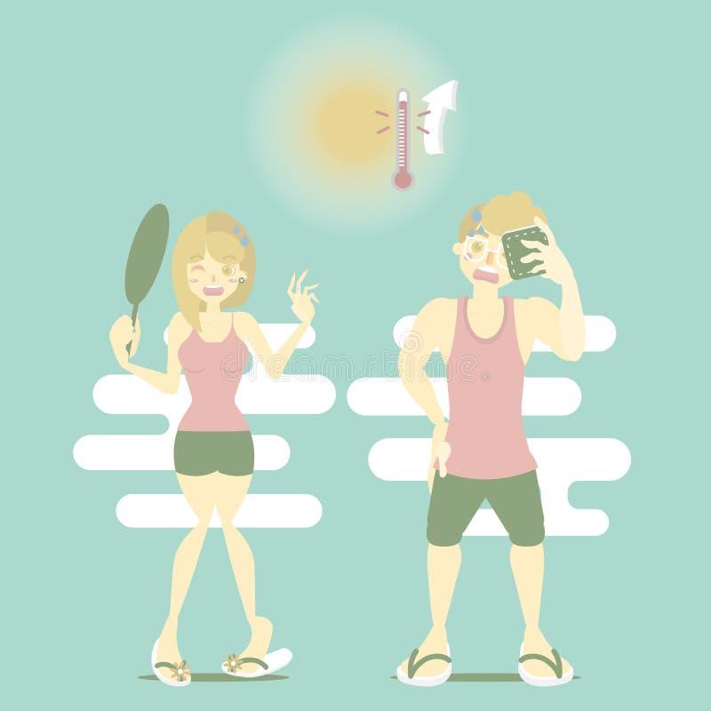 夏时假日与冒汗在热的温度,发汗概念的男人和妇女的假期 库存例证