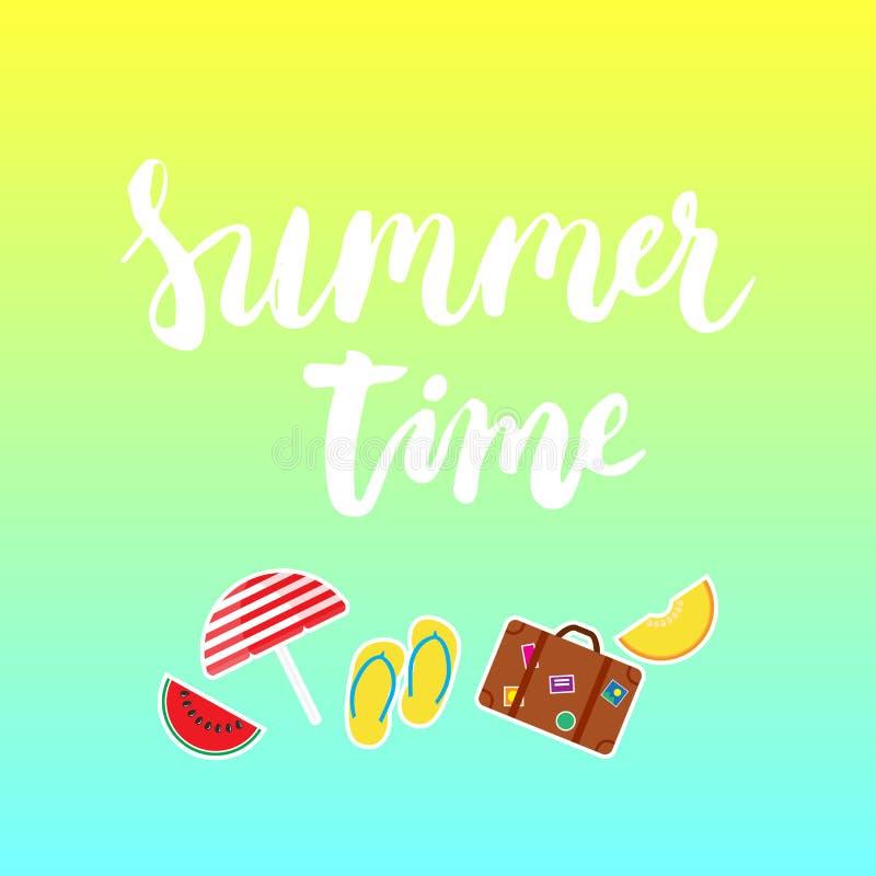 夏时刷子手画字法词组用五颜六色的西瓜,瓜,步ins,遮阳伞,手提箱象 库存例证