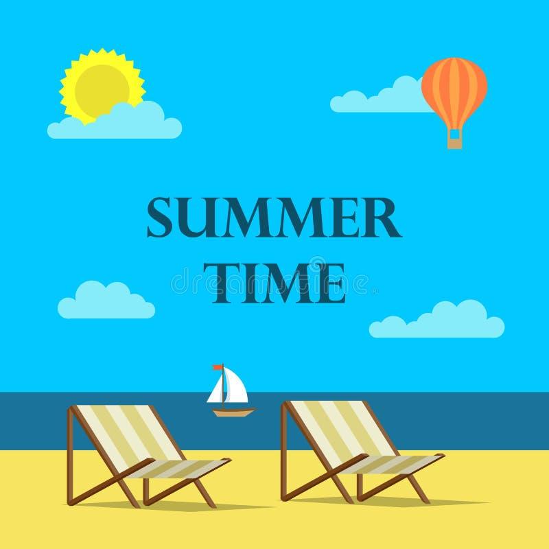 夏时在平的设计样式的背景例证 海滩、海和云彩 皇族释放例证