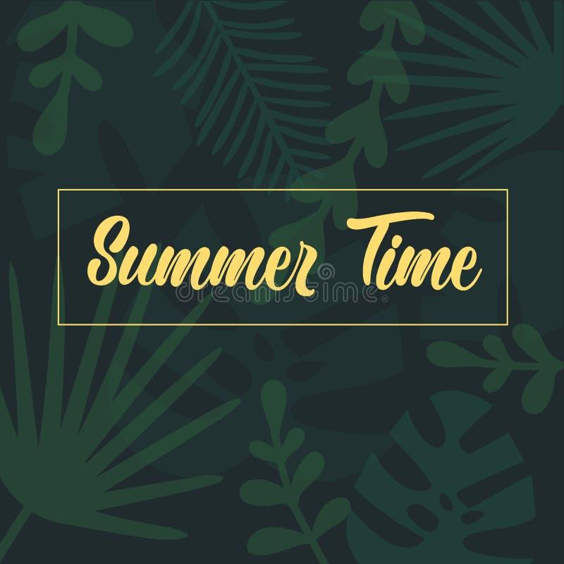 夏时在棕榈热带叶子的字法文本 皇族释放例证
