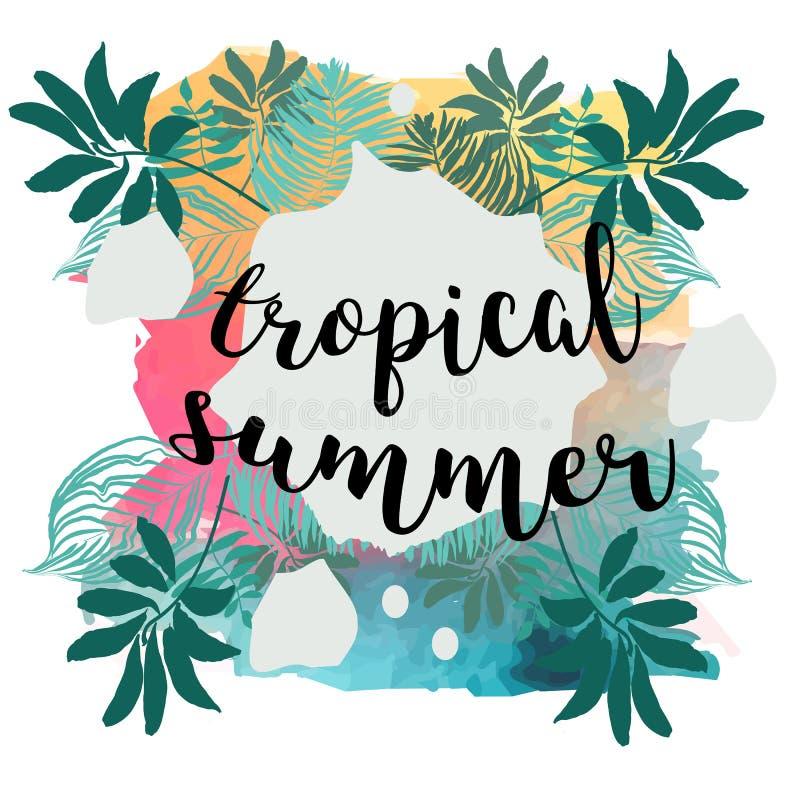 夏时海报 与框架的文本在热带叶子背景 时髦传染媒介例证 库存例证
