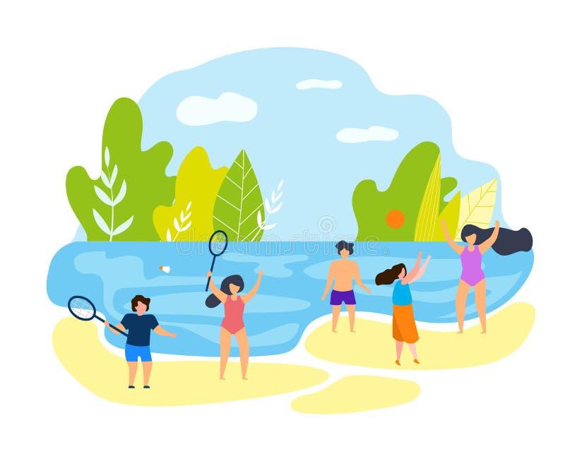 夏时海滩的家庭度假孩子 库存例证