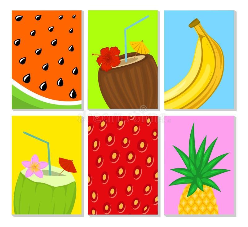 夏时热带水果关闭海报模板设置与西瓜、草莓纹理、菠萝,香蕉,绿色和棕色co 向量例证