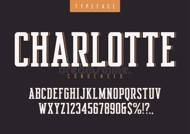夏洛特传染媒介凝聚了减速火箭的字体,大写字目和 向量例证
