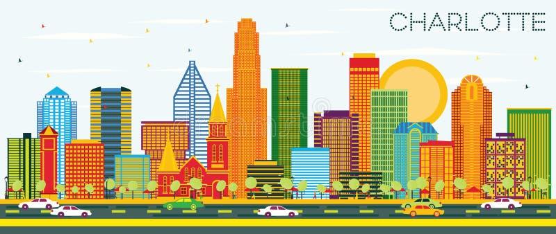 夏洛特北卡罗来纳与颜色大厦和B的市地平线 向量例证