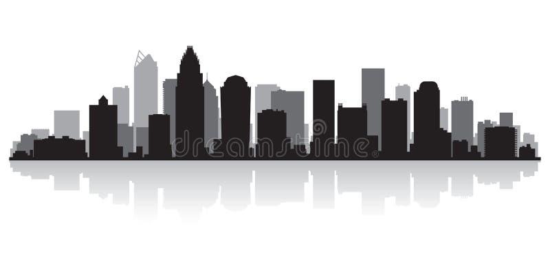 夏洛特北卡罗来纳市地平线剪影 向量例证