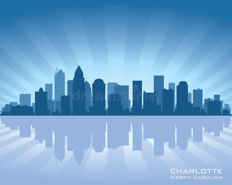 夏洛特北卡罗来纳市地平线剪影 库存例证