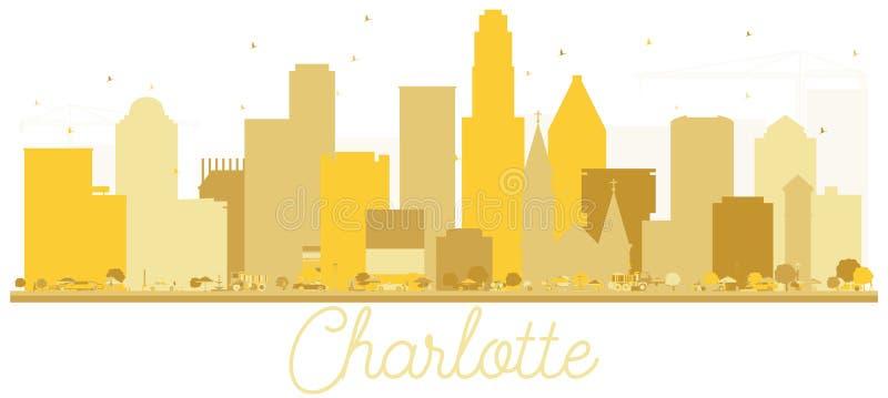 夏洛特北卡罗来纳美国市地平线金黄剪影 向量例证