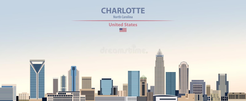 夏洛特在五颜六色的梯度好天气天空背景的市地平线的传染媒介例证与美国的旗子 皇族释放例证