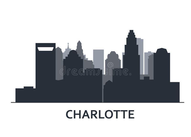 夏洛特地平线-夏洛特全景,城市概述剪影  皇族释放例证