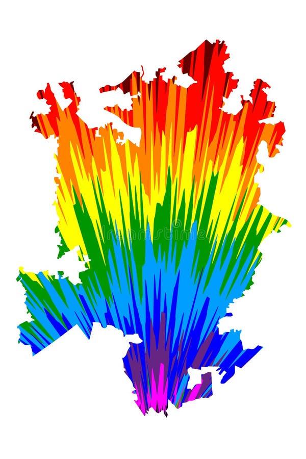 夏洛特市美国,美国,U S 美国,美国城市,美国城市-地图是被设计的彩虹摘要 皇族释放例证