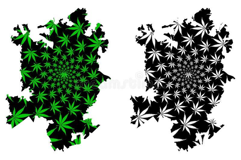 夏洛特市-地图是被设计的大麻叶子 皇族释放例证