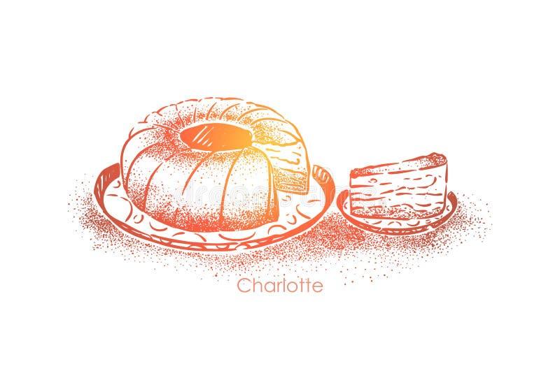夏洛特,甜点心用在面团烘烤的苹果,回合鲜美饼,糖果店产品,自助食堂食物 库存例证