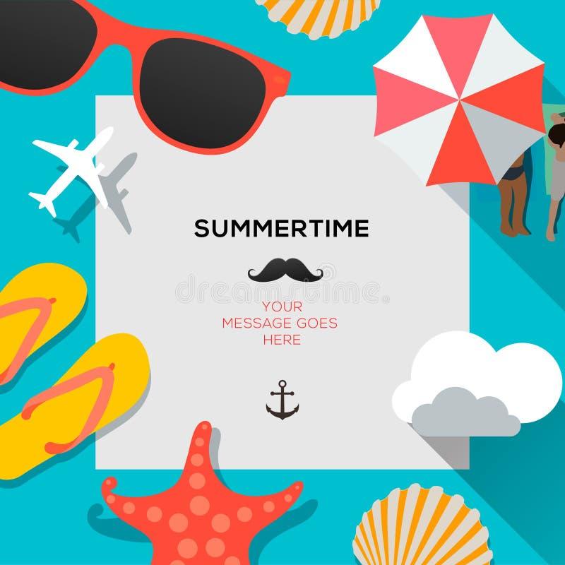 夏令时海滩旅行的模板 向量例证