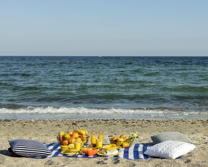 夏令时 在海滩的一顿野餐 汉堡和pitas、蔬菜和水果 图库摄影