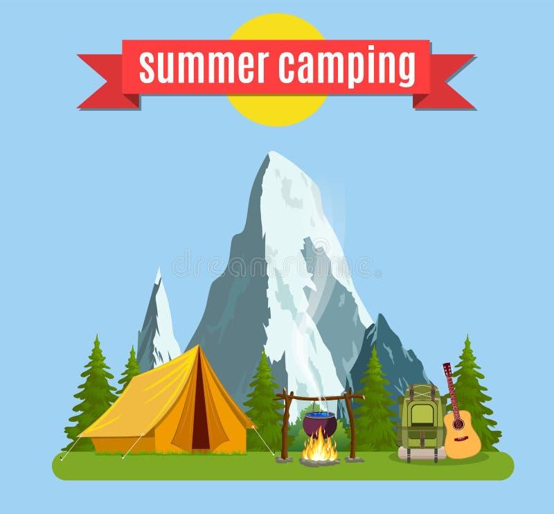 夏令营 与黄色帐篷的风景, 向量例证