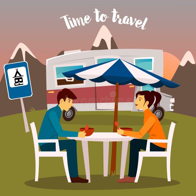 夏令营 坐在露营车附近的男人和妇女 库存例证