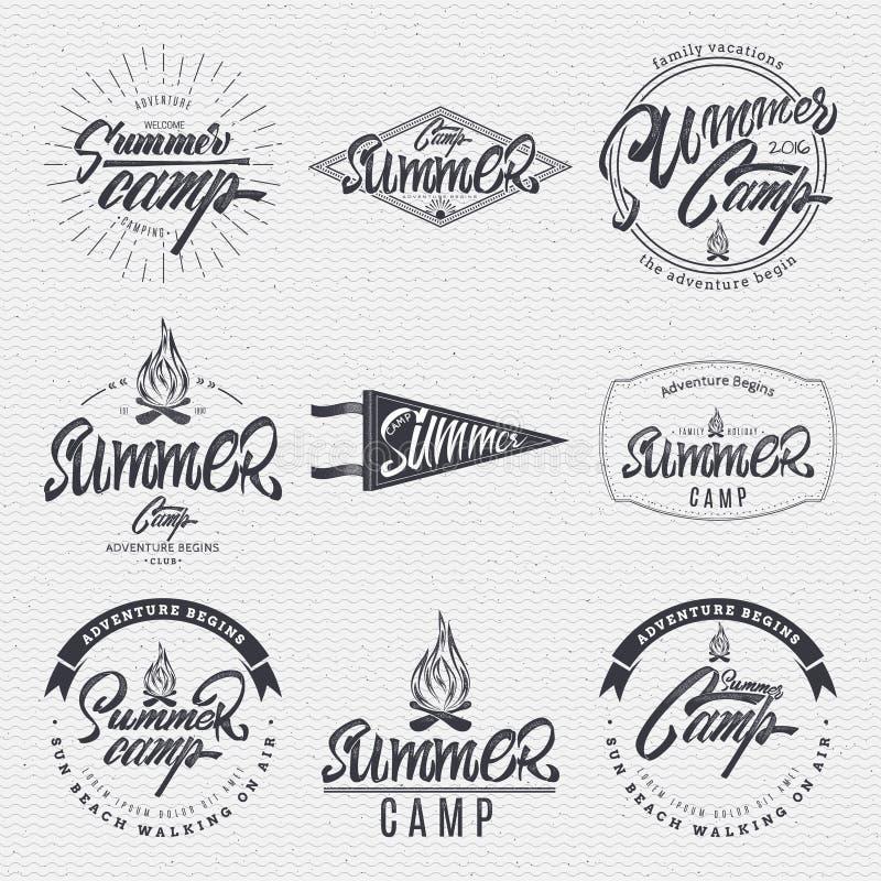 夏令营-徽章,象,海报,标签,印刷品,邮票,可以用于设计和广告 向量例证