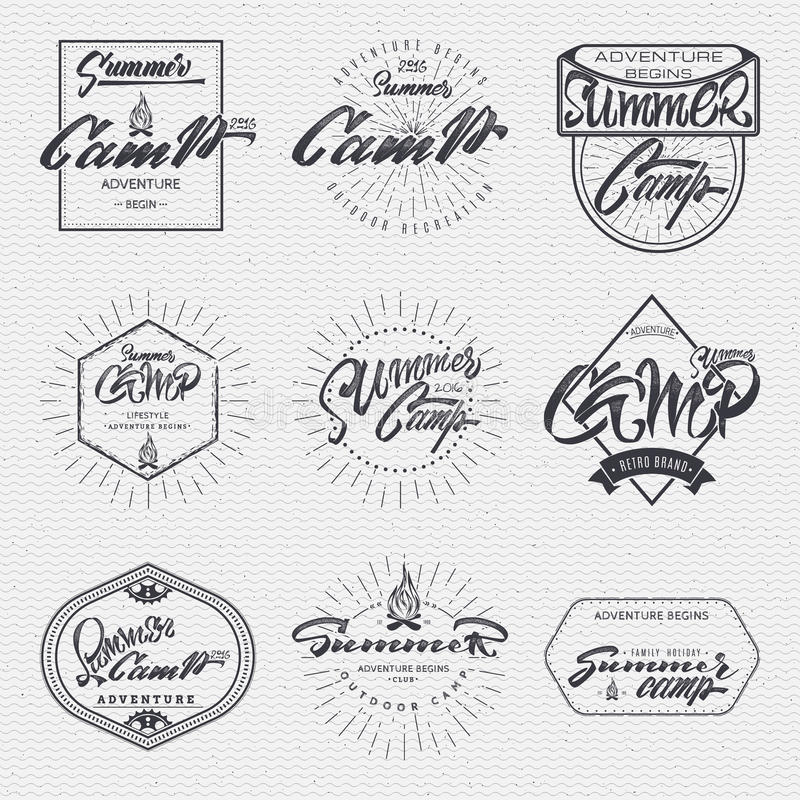 夏令营-徽章,象,海报,标签,印刷品,邮票,可以用于设计 皇族释放例证