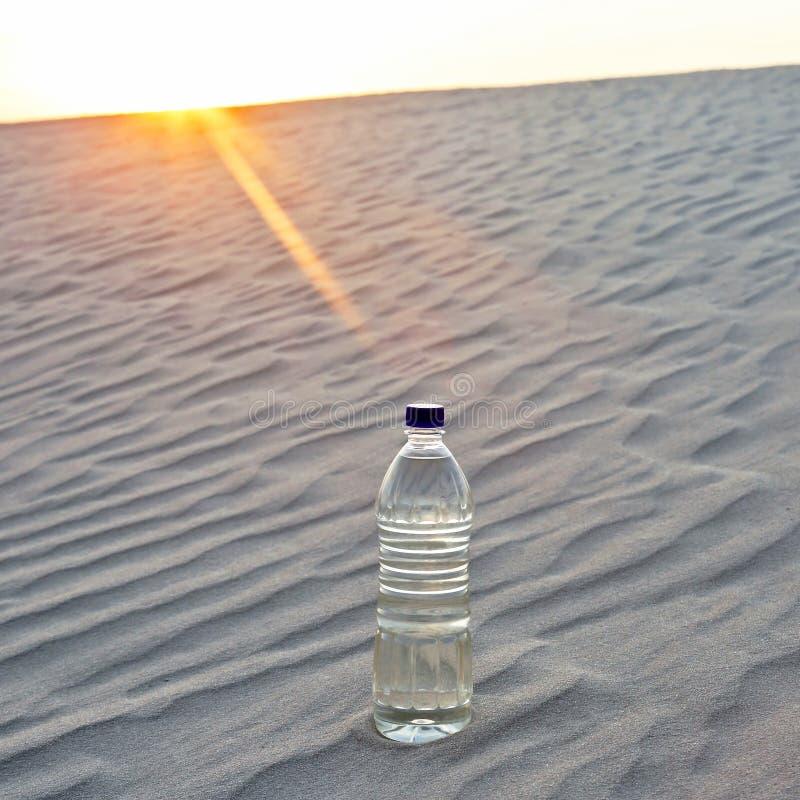 夕阳沙漠中的水瓶 渴和热 免版税库存照片
