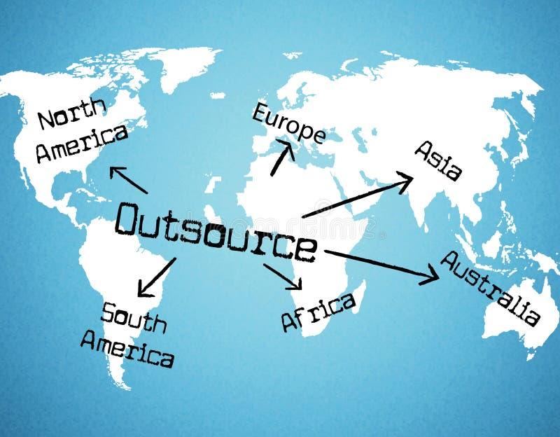外包全世界代表独立承包商和资源 向量例证