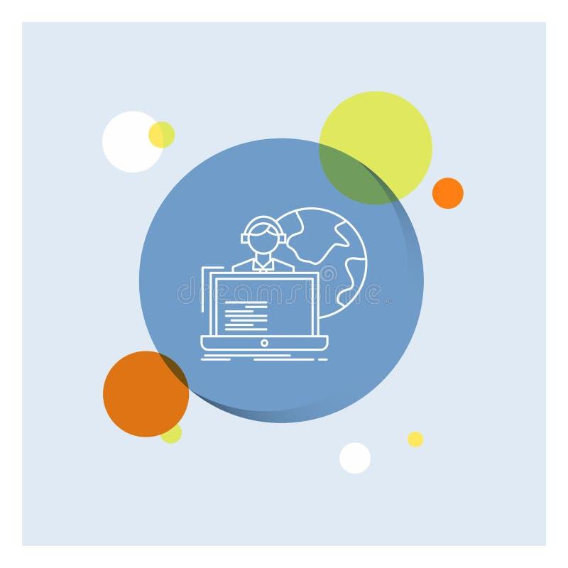 外包,采购,分派,人,网上空白线路象五颜六色的圈子背景 库存例证