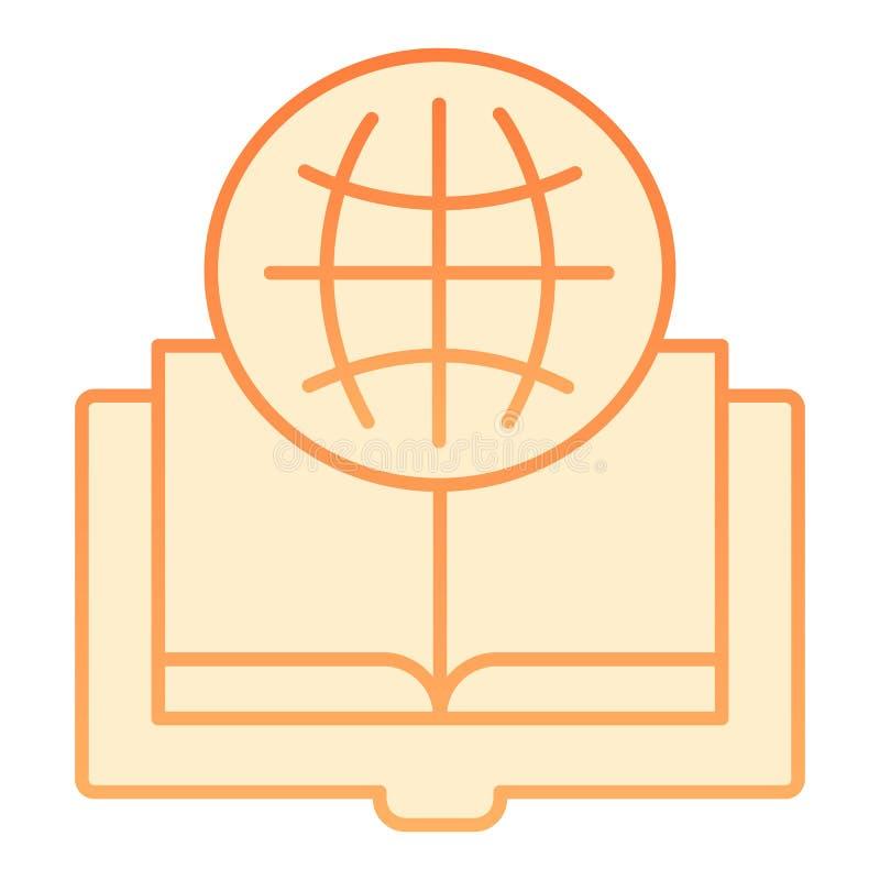 外国语书平的象 在时髦平的样式的地球和书橙色象 被打开的书梯度样式设计 皇族释放例证