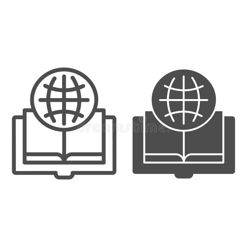 外国语书线和纵的沟纹象 在白色隔绝的被打开的书传染媒介例证 地球和书概述 皇族释放例证