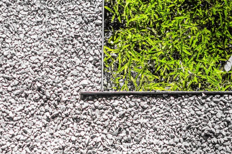 外在走道是石渣石头和边界与草 免版税图库摄影