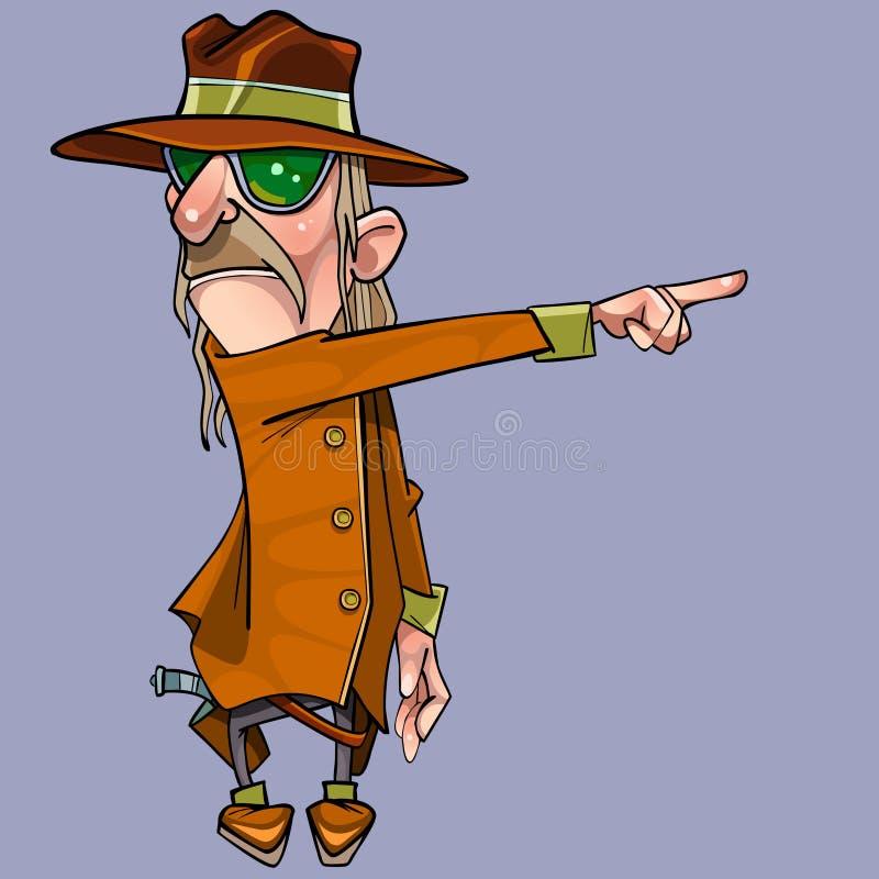 外套和帽子的动画片严肃的人显示手指对边 向量例证