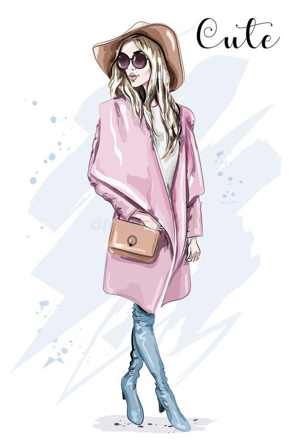外套和帽子的美丽的少妇 时髦的衣物成套装备 塑造查找 草图 库存例证