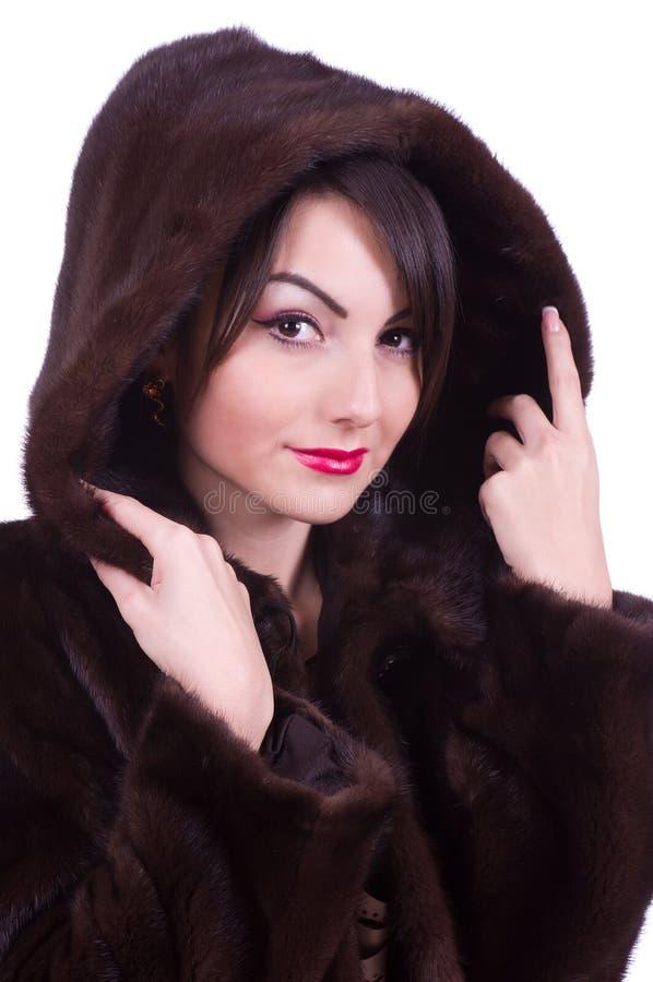 外套毛皮妇女 免版税图库摄影