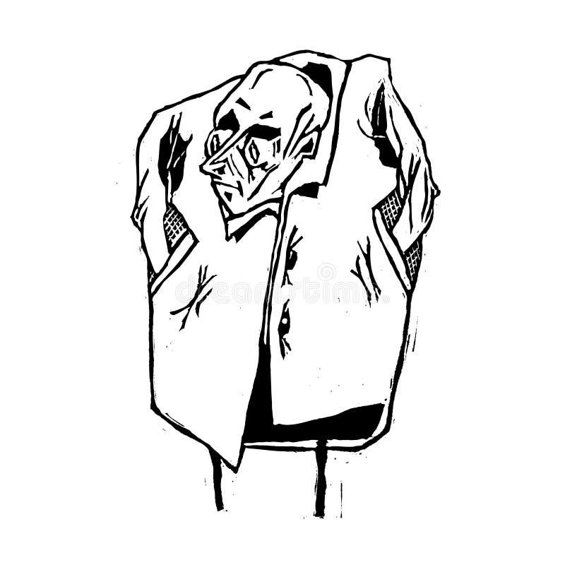 外套的一个诡计多端和狡猾坏人命名了Bubnovsky 向量例证
