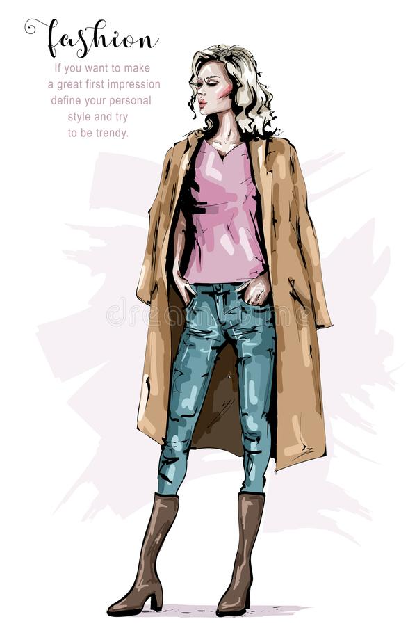 外套的手拉的美丽的少妇 时髦的典雅的女孩 时尚妇女神色 时尚冬天成套装备 皇族释放例证