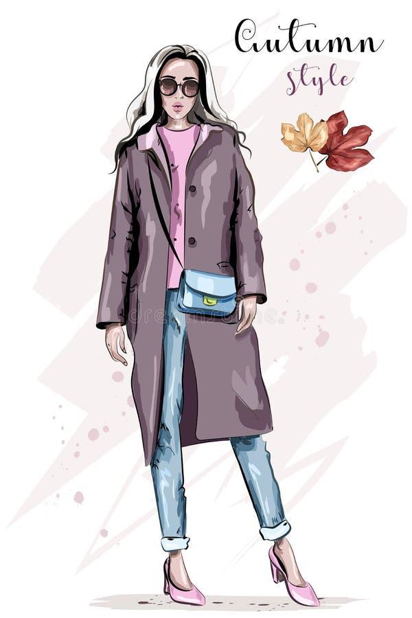 外套的时髦的手拉的妇女 太阳镜的美丽的时尚妇女 时尚秋天成套装备 向量例证