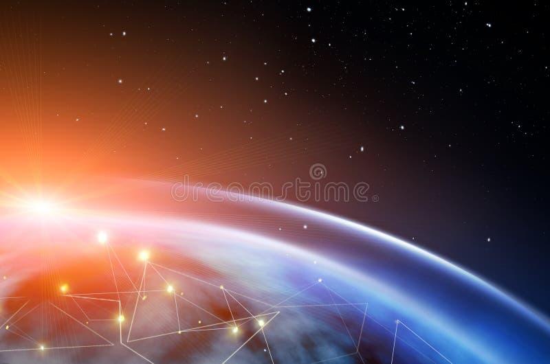 外层空间抽象背景  在远景旅行 新技术和资源 皇族释放例证