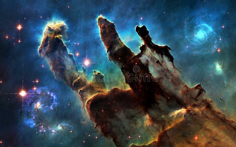 外层空间 创作和星系柱子  皇族释放例证