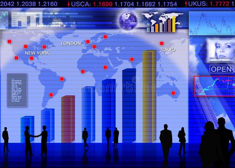 外币兑换市场场面 向量例证