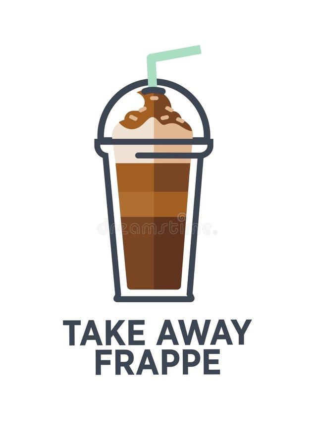 外带的咖啡馆菜单的咖啡饮料杯子传染媒介平的象 库存例证