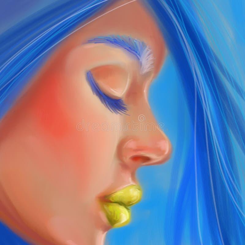 外形的女孩与仿照数字式油画样式的蓝色头发 向量例证