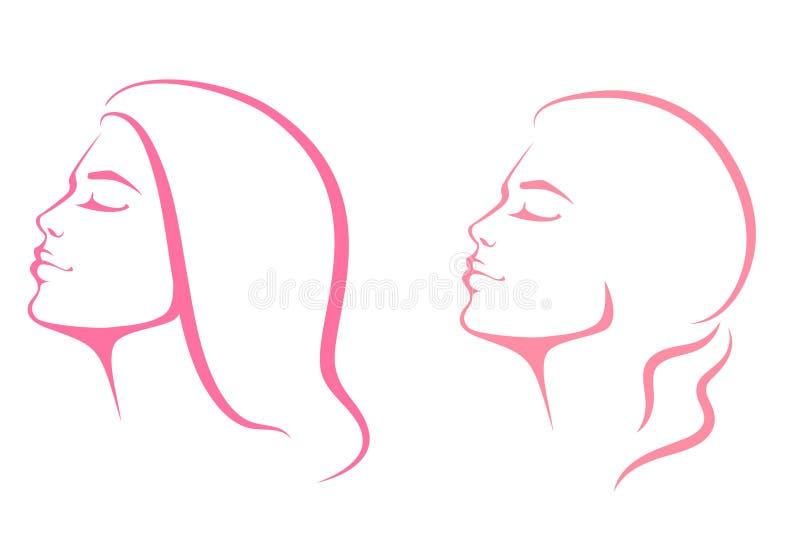从外形视图的美丽的妇女面孔 库存例证