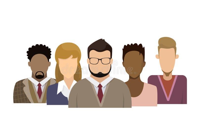 外形象男性和女性具体化妇女人动画片画象偶然人剪影面孔 向量例证