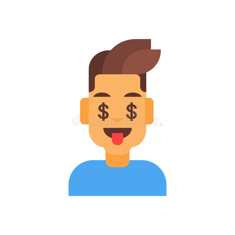 外形象男性情感具体化,人动画片画象愉快的微笑的面孔金钱标志 向量例证