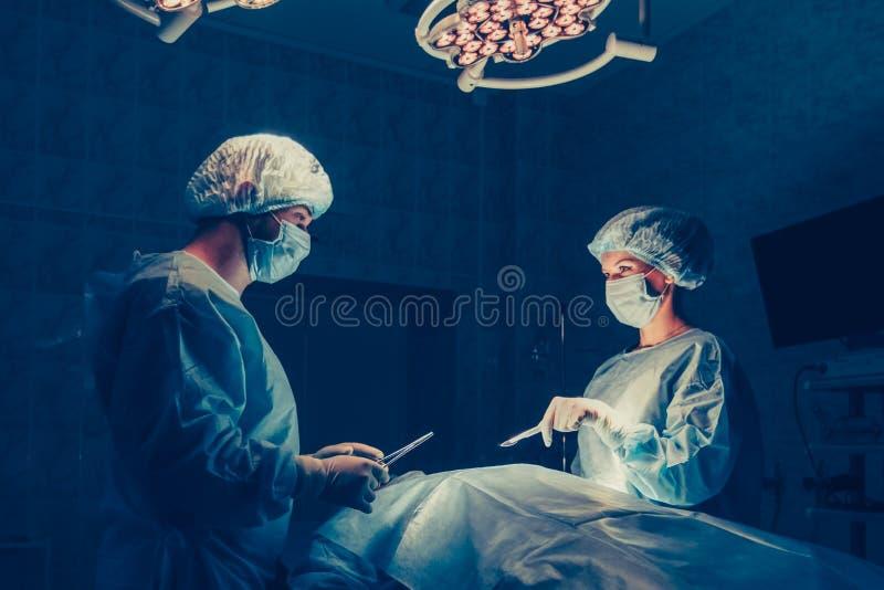 外科医生在外科手术室合作与患者一起使用监视  乳房增广 免版税库存图片