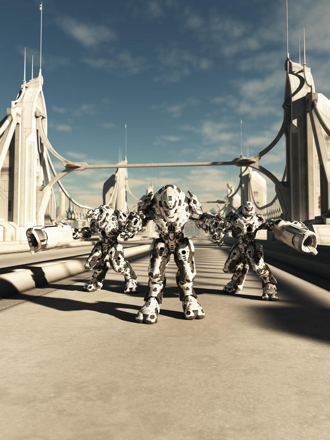 外籍人争斗机器人-手足兄弟 向量例证