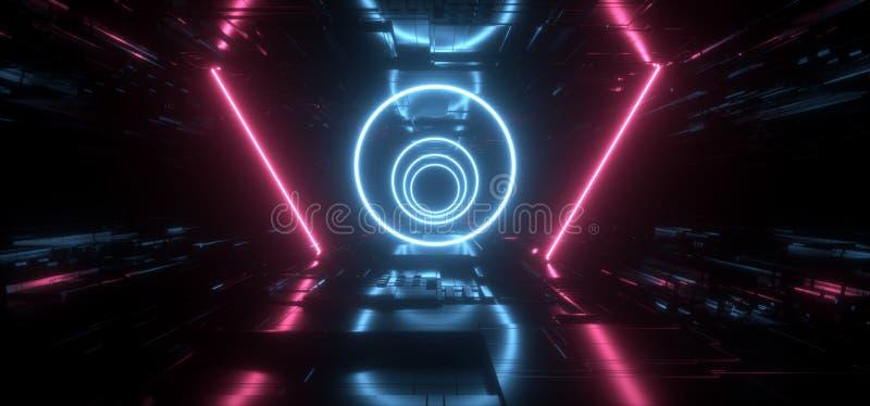 外籍人太空飞船霓虹未来派科学幻想小说激光圈子塑造概要主板芯片详述构造反射性金属黑暗空 向量例证
